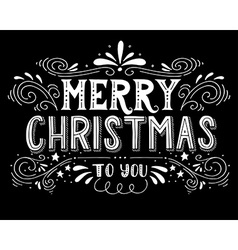 Merry christmas retro poster with hand lettering vector