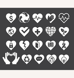 Love concept heart line icons style vector