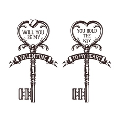 Set of heart shaped keys with quotes related to vector