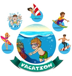 Banner design with water activities vector