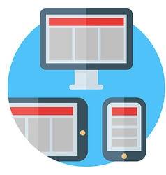 Tablet computer and smartphone screens Colored vector image