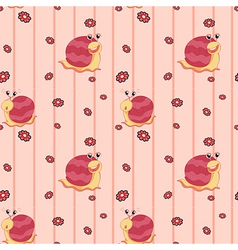 A seamless design with flowers and snails vector