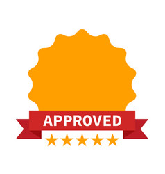 approved certificate icon with five stars vector image vector image