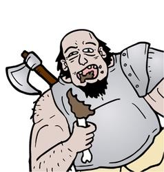 Barbarian eating vector image vector image