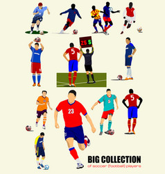 Big collection of football soccer players colored vector