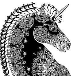 black unicorn vector image vector image