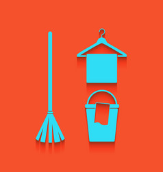 Broom bucket and hanger sign whitish vector