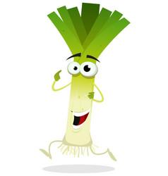 cartoon happy leek character vector image vector image