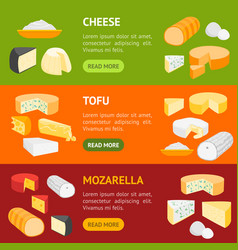 cheese product dairy banner horizontal set vector image