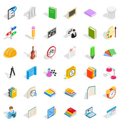 College student icons set isometric style vector