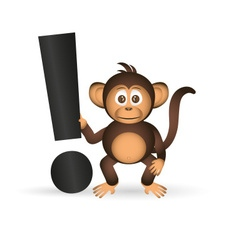 Cute chimpanzee little monkey and exclamation mark vector