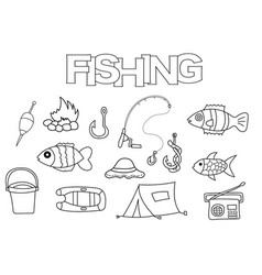 Fishing elements hand drawn set vector