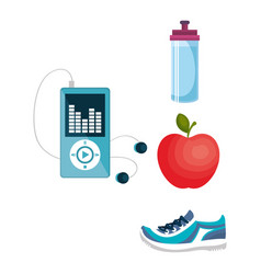 Fitness and gym set icons vector