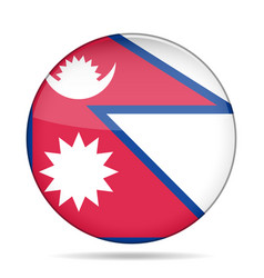 Flag of nepal shiny round button vector