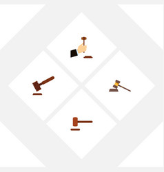 Flat icon court set of court law defense and vector