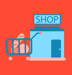 Flat icon shop cart with vector
