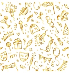 Golden carnival symbols in doodle style on white vector image vector image