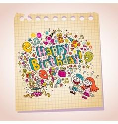 Happy Birthday kids note paper cartoon vector image vector image