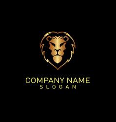 lion logo 2 black background vector image vector image