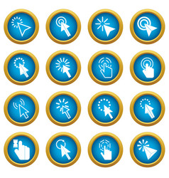 mouse pointer icons blue circle set vector image