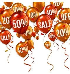 Orange flying party balloons with text SALE and vector image