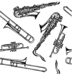 Pattern with woodwind and brass musical instrument vector