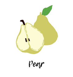 Pear fruit drawing food vector