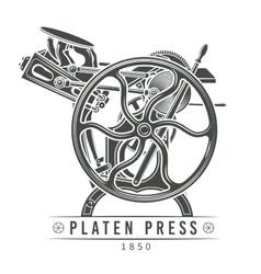 Platen press old letterpress vector