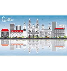 Quito Skyline with Gray Buildings Blue Sky vector image vector image