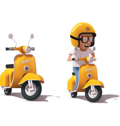 Realistic vintage yellow scooter and vector