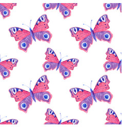 Seamless pattern with watercolor butterflies vector