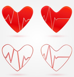 Set of hearts beats graph icons vector