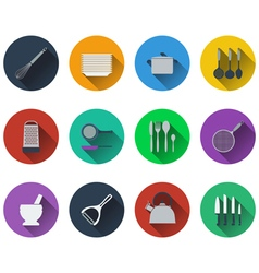 Set of kitchen utensil icons in flat design vector