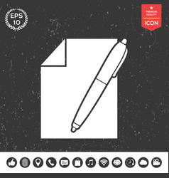 sheet of paper and pen symbol icon vector image