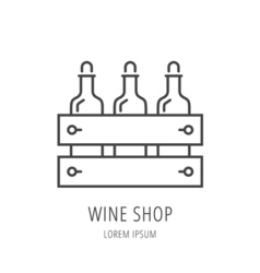 Simple logo template wine shop vector