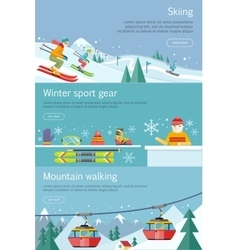 Skiing winter sport gear mountain walking set vector