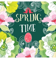 spring background with flowers vector image