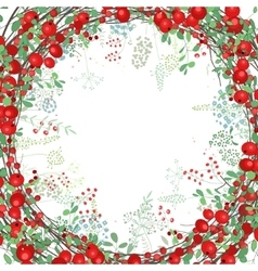 Square frame with contour berries and herbs on vector image