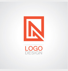 square letter n logo vector image vector image