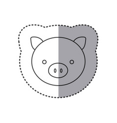 sticker of grayscale contour with face of pig vector image