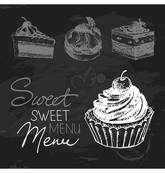 Sweet cakes hand drawn chalkboard design set vector image