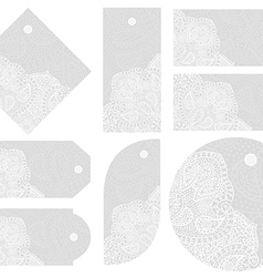 White lace tags set vector image vector image