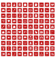 100 credit icons set grunge red vector