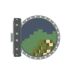 Strongbox bills security money icon vector