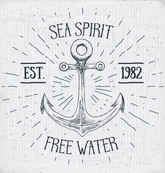 Hand drawn sketched anchor textured grunge vintage vector
