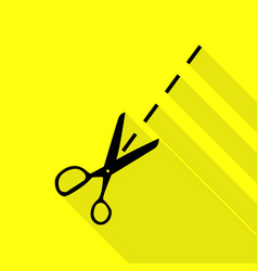 Scissors sign  black icon with flat vector