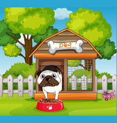 Dog in the doghouse in garden vector