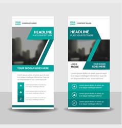 Green label business roll up banner flat design vector