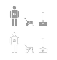 Snow removal set icon vector