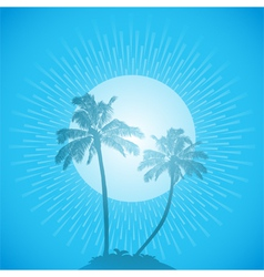 Palm tree silhouette background blue vector